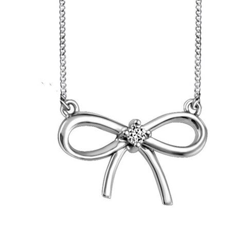 White Gold Diamond Bow Pendant