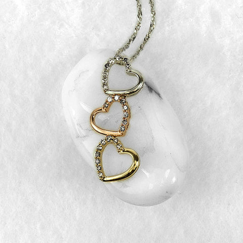 Tri Gold Diamond Heart Pendant