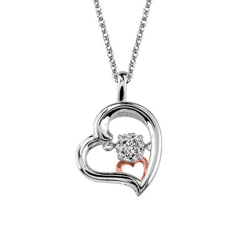 White And Rose Gold Diamond Luminance Heart Pendant