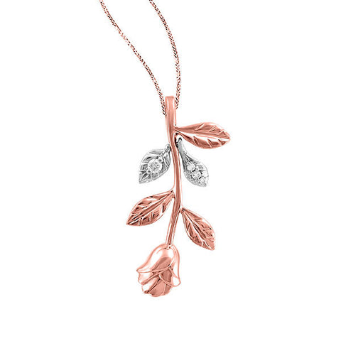 White and Rose Gold Diamond Rose Pendant