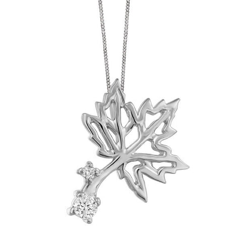 White Gold and Diamond Maple Leaf Pendant
