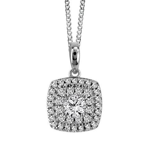 10kt White Gold Round Brilliant Diamond Halo Pend. W/Chain