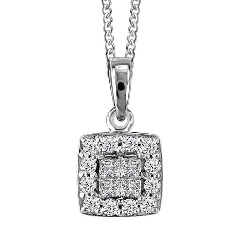 10kt White Gold Inv. Set Pc Round Brilliant Diamond Halo Pend. W/Chain