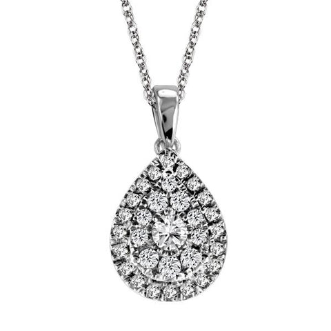 14kt White Gold Round Brilliant Diamond Pend. W/Chain