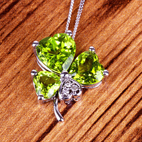 White Gold Diamond and Peridot Shamrock Pendant