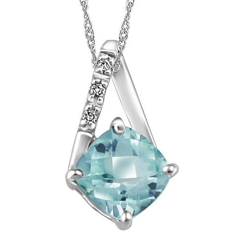 White Gold Diamond And Aquamarine Pendant