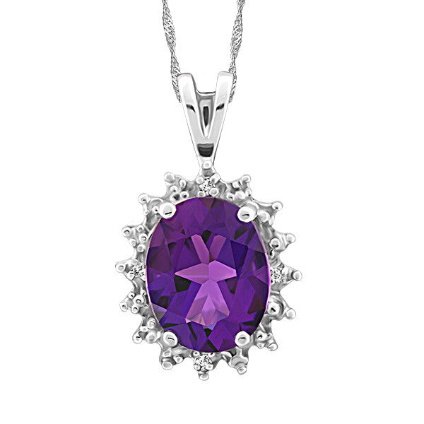 White Gold Diamond and Amethyst Pendant