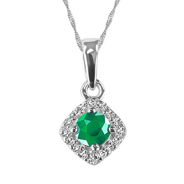 White Gold Diamond and Emerald Pendant