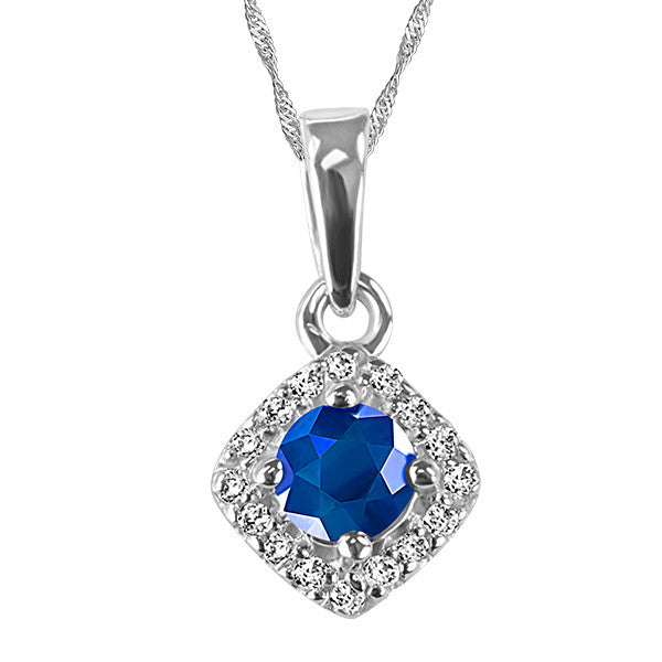 White Gold Diamond and Blue Sapphire Pendant