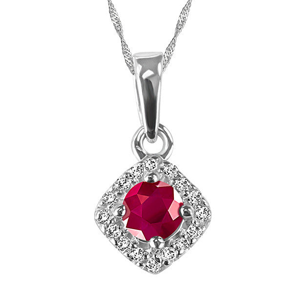White Gold Diamond and Ruby Pendant