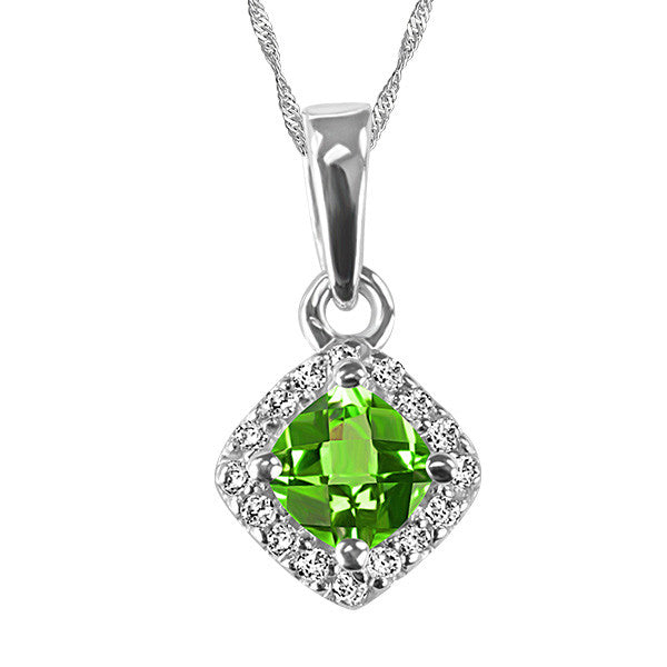 White Gold Diamond and Peridot Pendant