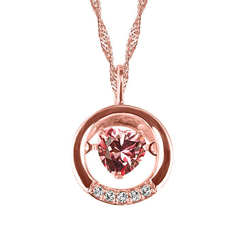 Rose Gold Diamond and Pink Topaz Pendant