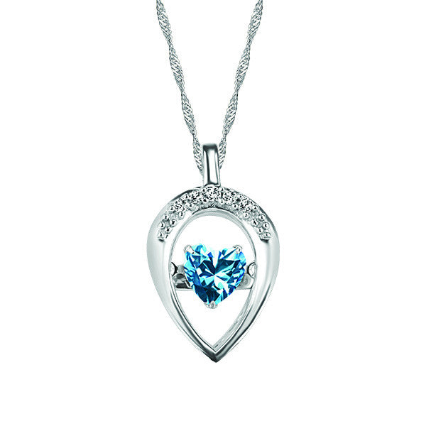 White Gold Diamond and Blue Topaz Pendant