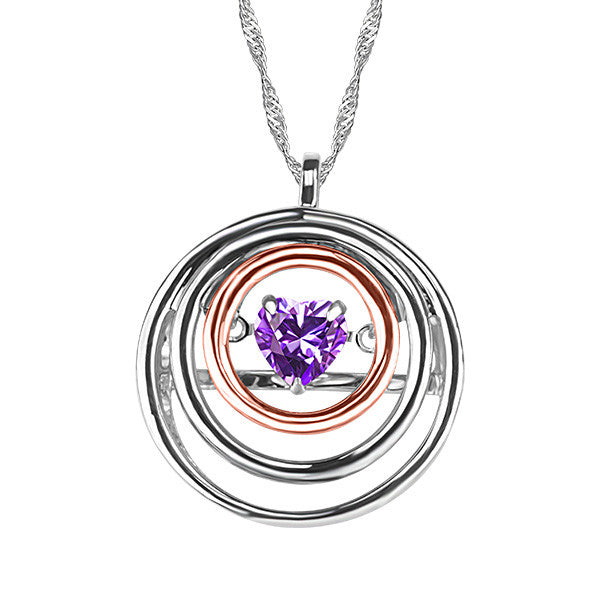 White and Rose Gold Amethyst Pendant  |  Clearance