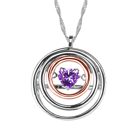 White and Rose Gold Amethyst Pendant