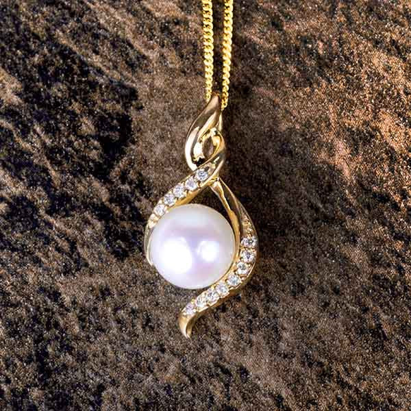 Yellow Gold Diamond and Pearl Pendant