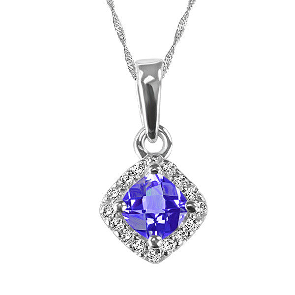 White Gold Diamond and Tanzanite Pendant