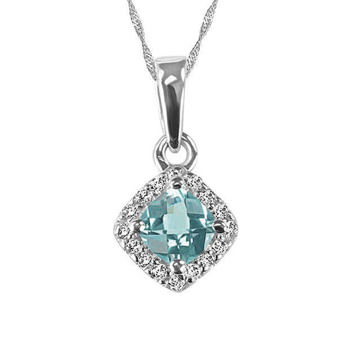White Gold Diamond Aquamarine Pendant