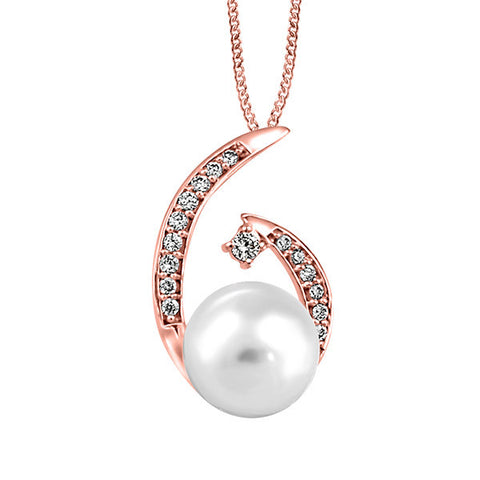 Rose Gold Diamond And Pearl Pendant