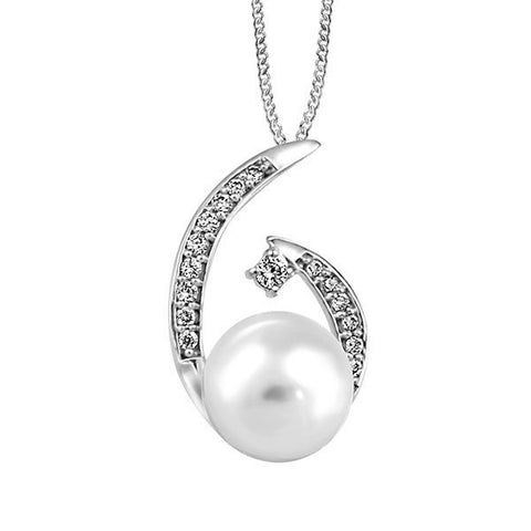 White Gold Diamond And Pearl Pendant