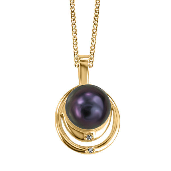 Yellow Gold Diamond And Black Pearl Pendant