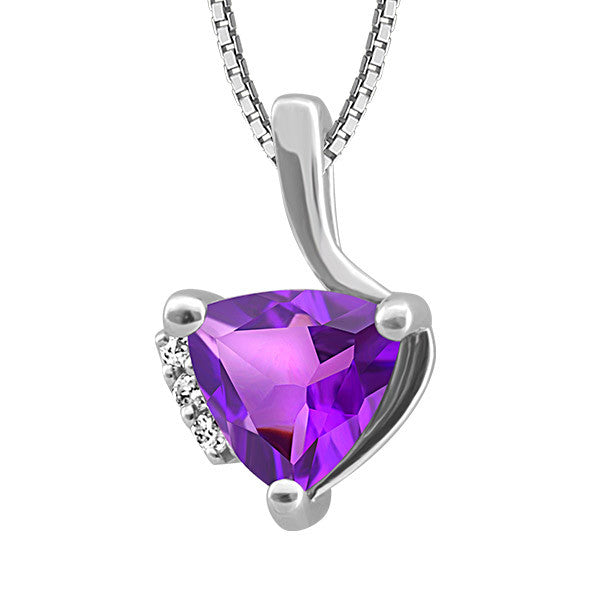 Silver diamond and Amethyst Pendant