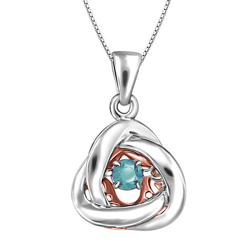 Silver and Rose Gold Aquamarine Luminance Pendant  |  Clearance