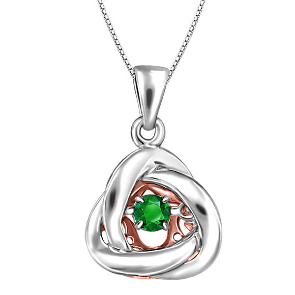 Silver and Rose Gold Emerald Luminance Pendant