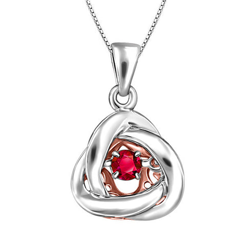 Silver and Rose Gold Ruby Luminance Pendant