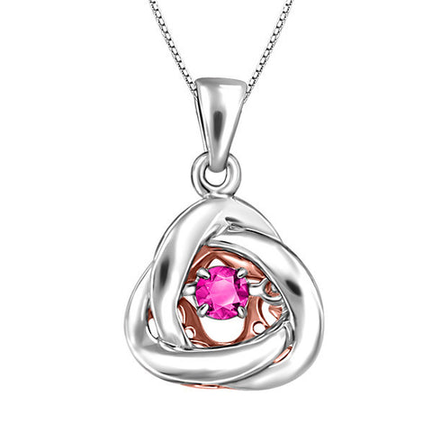 Silver and Rose Gold Pink Topaz Luminance Pendant