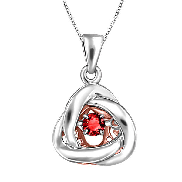 Silver and Rose Gold Garnet Luminance Pendant