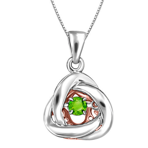 Silver and Rose Gold Peridot Luminance Pendant  |  Clearance