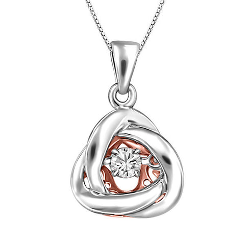 Silver and Rose Gold White Topaz Luminance Pendant  |  Clearance