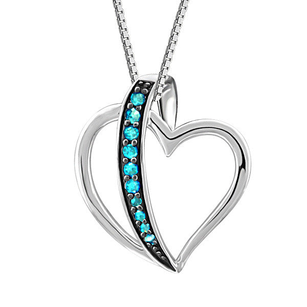 Silver Blue Diamond Heart Pendant