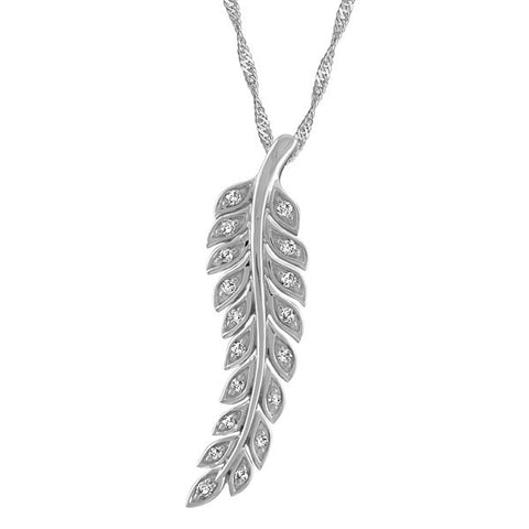 Silver Diamond Leaf Pendant