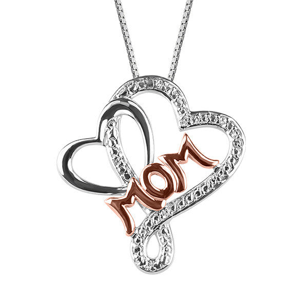 Silver and Rose Gold Diamond Mom Pendant