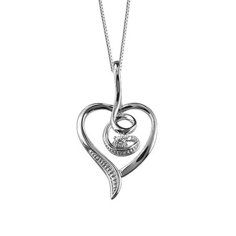 Silver Diamond Heart Pendant