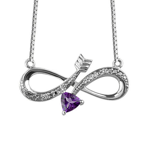 Silver Diamond And Amethyst Infinity Pendant