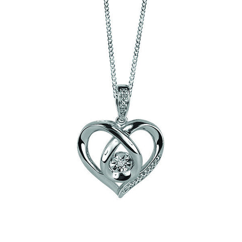 Silver Diamond Luminance Heart Pendant  |  Clearance