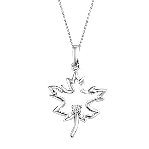 Silver and Diamond Maple Leaf Pendant