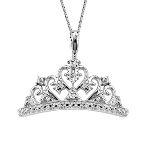 Silver Diamond Crown Pend. W/Chain