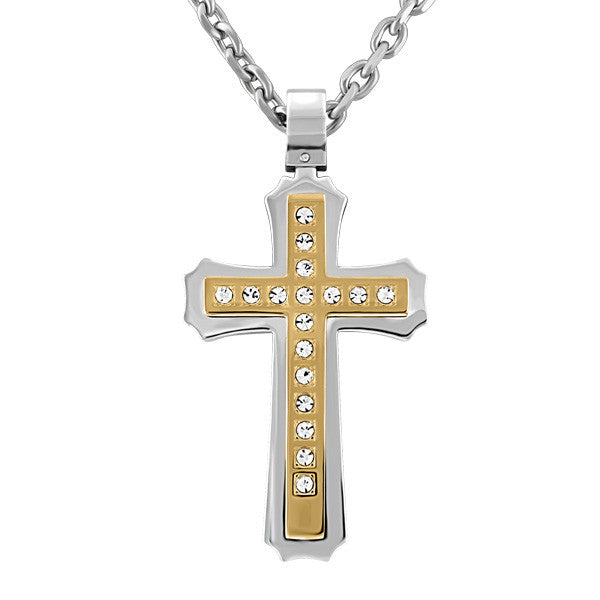 Two Tone Stainless Steel CZ Cross Pendant