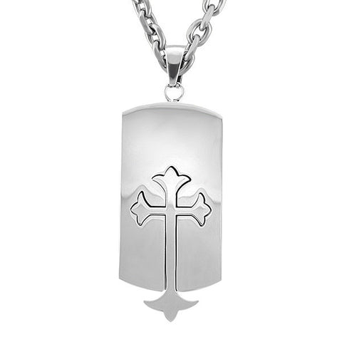 Mens Stainless Steel Cross Pendant  |  Clearance