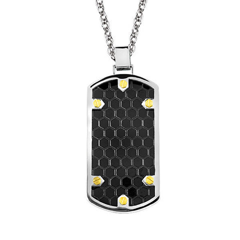 Stainless Steel Black And Yellow Dog Tag Pendant
