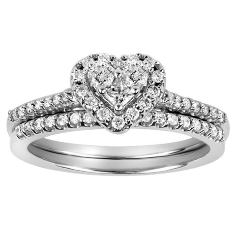 0.40 CTW, White Gold Diamond Engagement Ring and Wedding Band Set