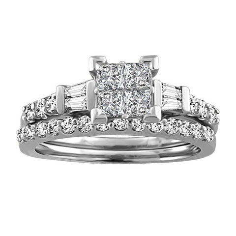 1.00 CTW, White Gold Diamond Engagement Ring and Wedding Band Set