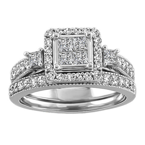1.00 CTW, White Gold Diamond Wedding Set