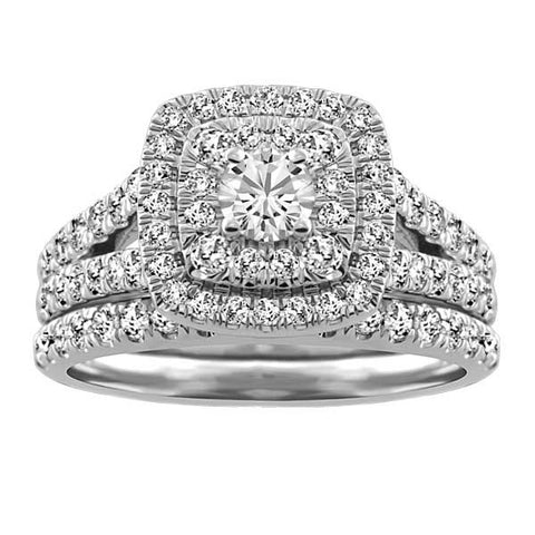 White Gold Diamond Double Halo Engagement Ring