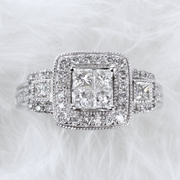 1.00 CTW, White Gold Diamond Engagement Ring