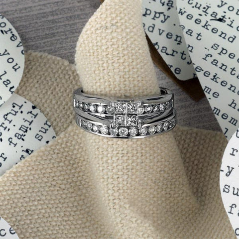 White Gold Diamond Engagement Ring Band Set